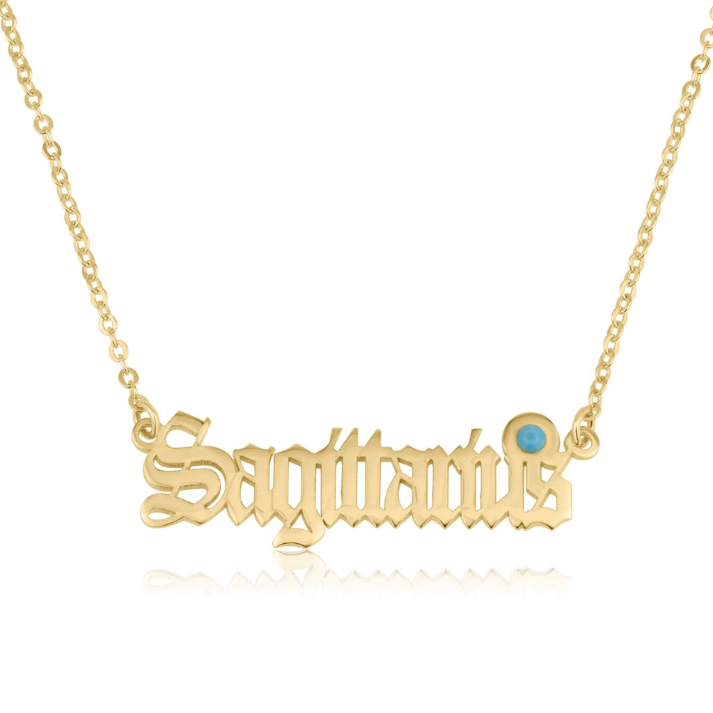 Sagittarius Script Necklace With Swarovski Birthstone - Beleco Jewelry