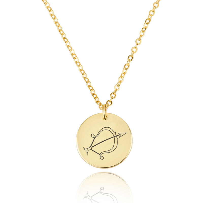 Sagittarius Zodiac Disk Necklace - Beleco Jewelry