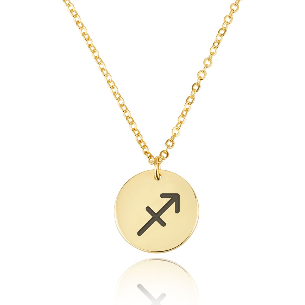 Sagittarius Zodiac Sign Disk Necklace - Beleco Jewelry