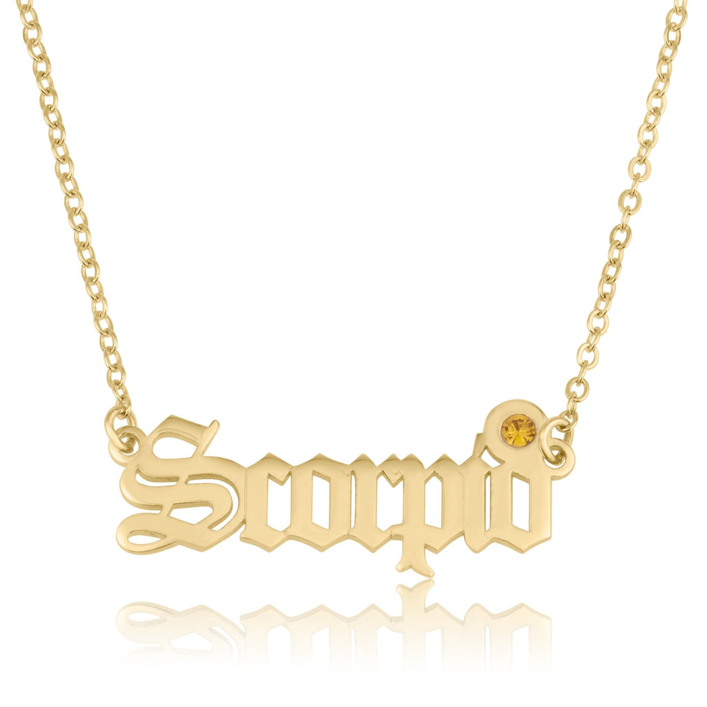 Scorpio Script Necklace With Swarovski Birthstone - Beleco Jewelry