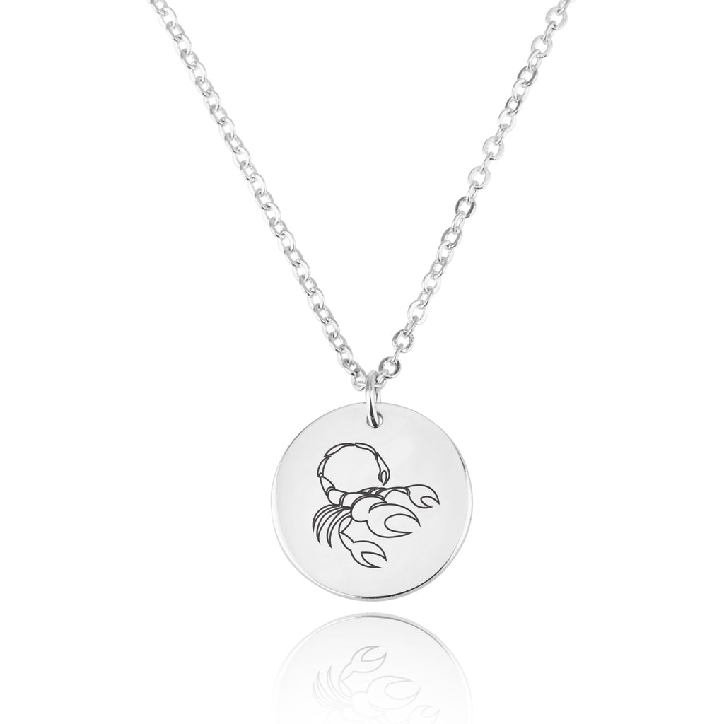Scorpio Zodiac Disk Necklace - Beleco Jewelry