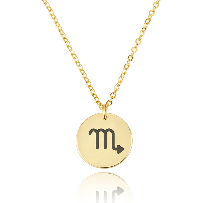 Scorpio Zodiac Sign Disk Necklace - Beleco Jewelry