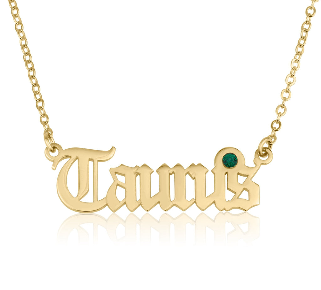 Taurus Script Necklace With Swarovski Birthstone - Beleco Jewelry