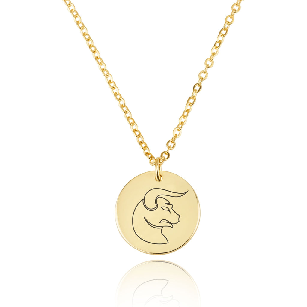 Taurus Zodiac Disk Necklace - Beleco Jewelry