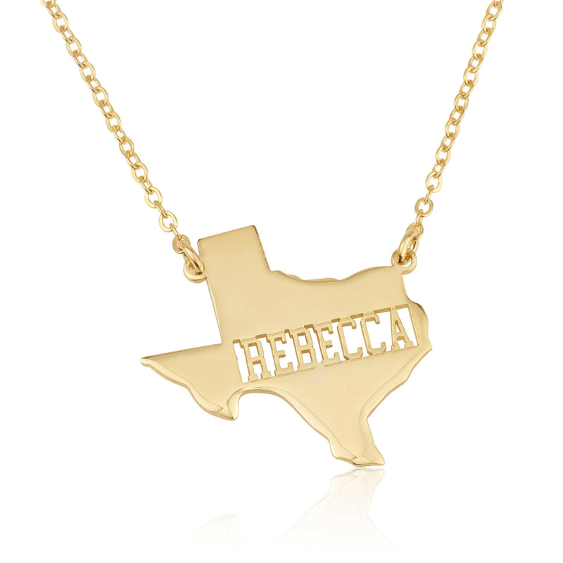 Texas Map Necklace With Name - Beleco Jewelry