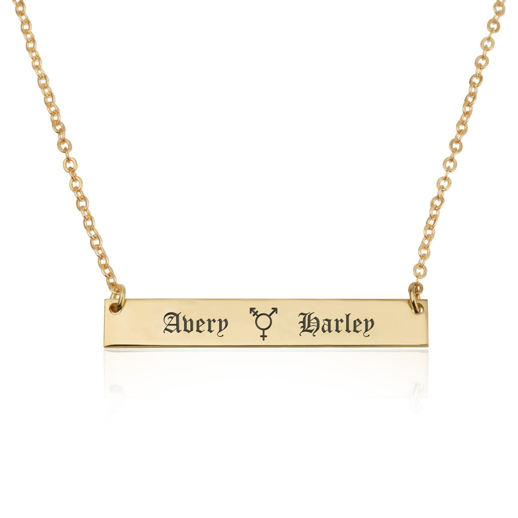Transgender Bar Necklace With Engraved Names - Beleco Jewelry