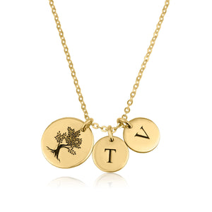 Tree Necklace with Initial Disk - Beleco Jewelry