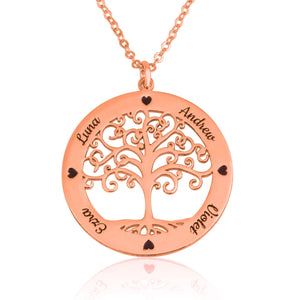 Tree Of life Necklace With Engraved Names - Beleco Jewelry