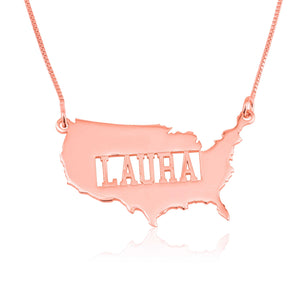 USA Map Necklace With Name - Beleco Jewelry