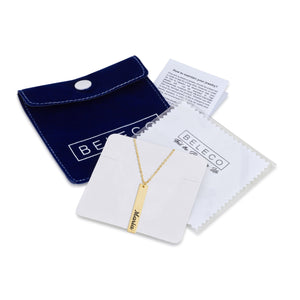 Vertical Bar Name Necklace In English - Beleco Jewelry