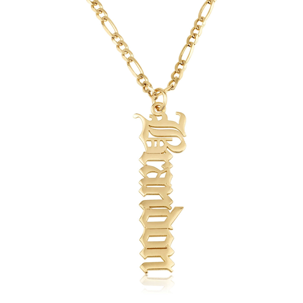 Vertical Old English Name Necklace With Figaro Chain - Beleco Jewelry