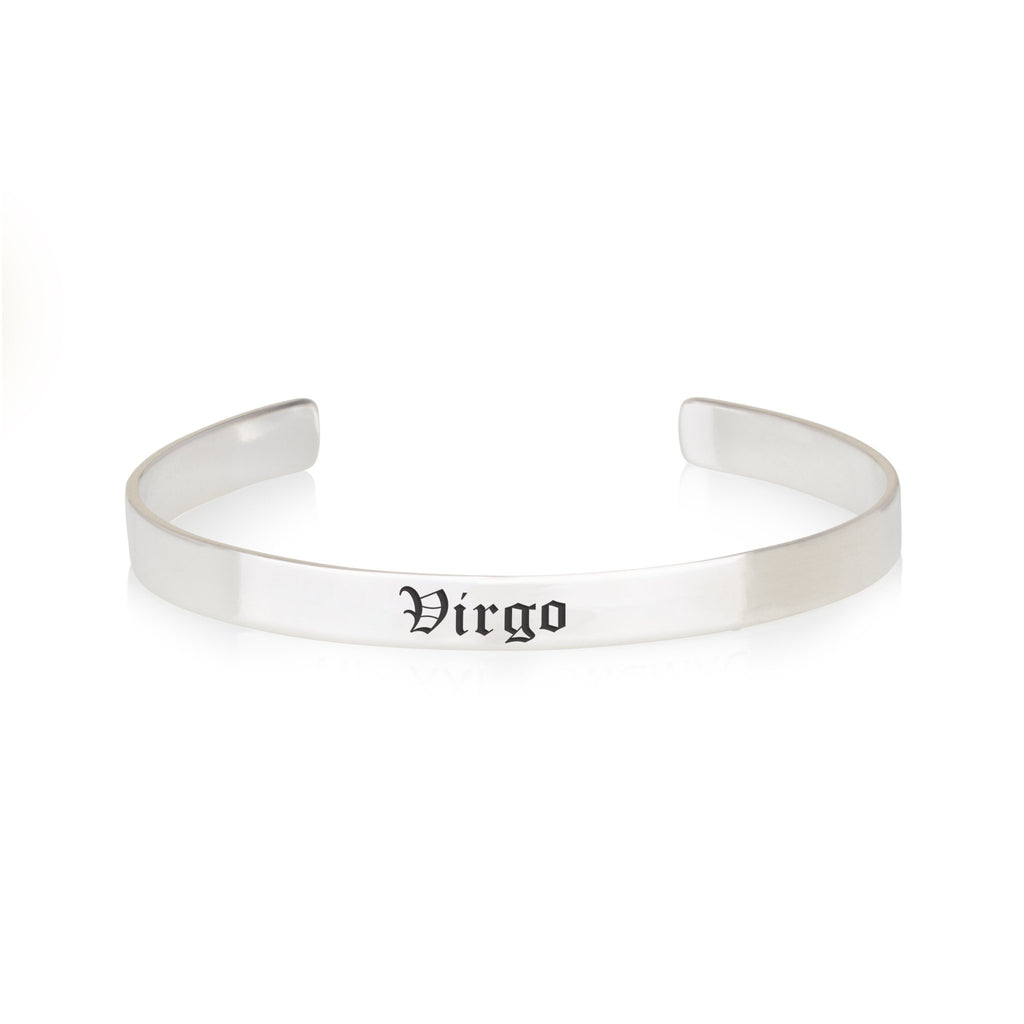 Virgo Engraved Cuff Bracelet - Beleco Jewelry