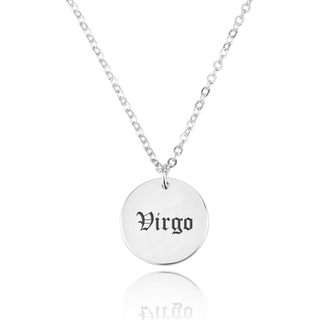Virgo Script Disk Necklace - Beleco Jewelry