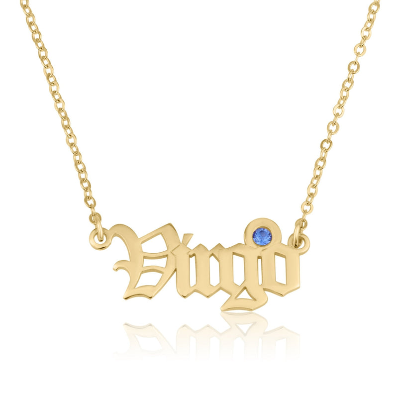 Virgo Script Necklace With Swarovski Birthstone - Beleco Jewelry