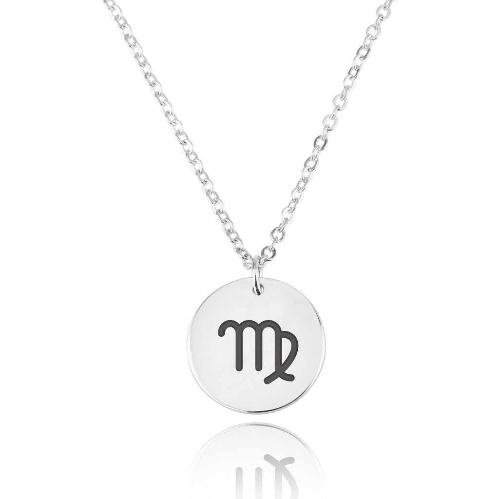 Virgo Zodiac Sign Disk Necklace - Beleco Jewelry