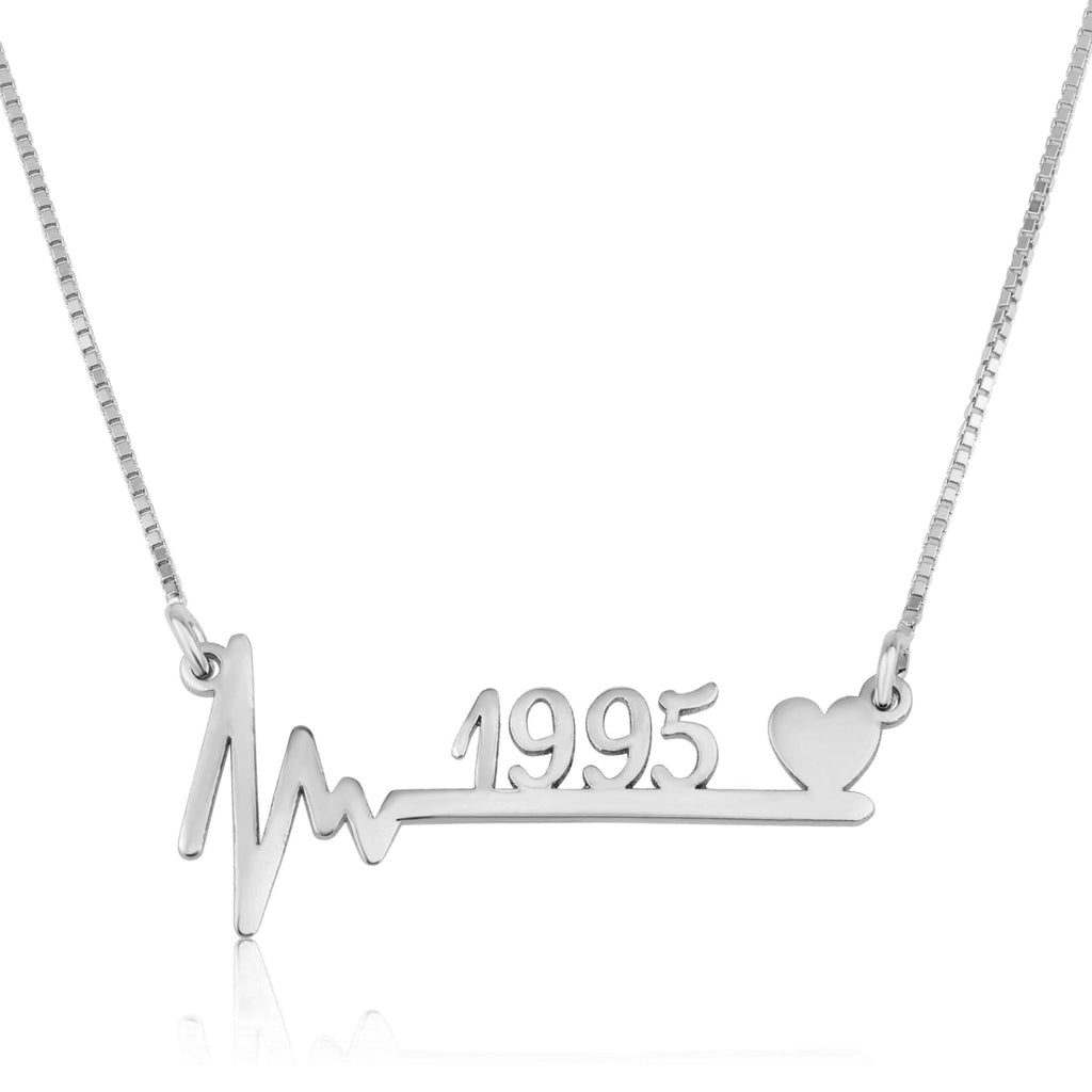 Year Necklace With Heartbeat - Beleco Jewelry