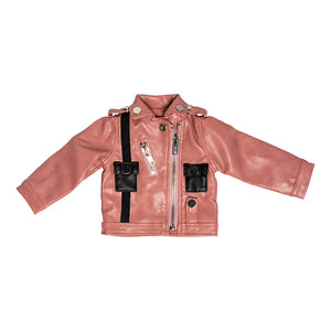 IAG1190 - I'm A Girly Pink Black Leather Jacket Pink Black Leather Jacket - Click Distribution (UK) Ltd