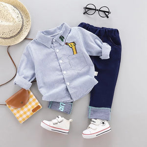 Long Sleeves Shirt Giraffe & Blue Jeans Set (Red/Blue)