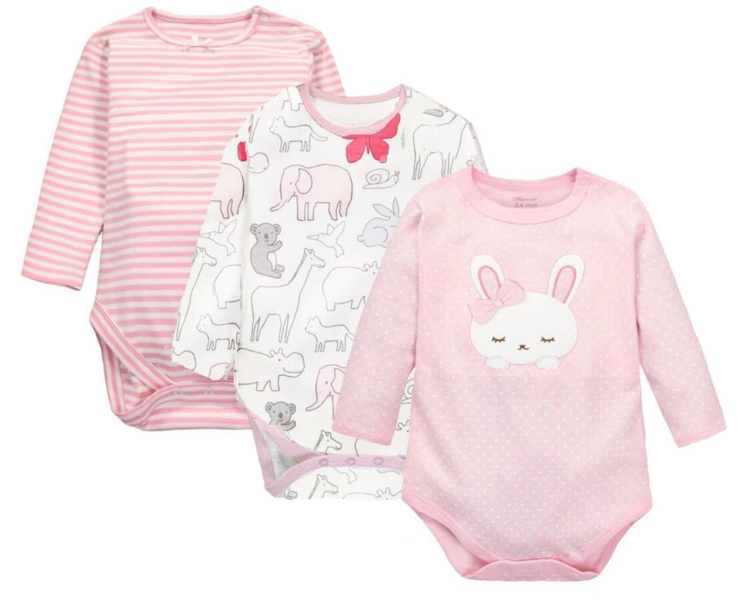 Cutie 3x Romper Set (Rabbit & Friends)