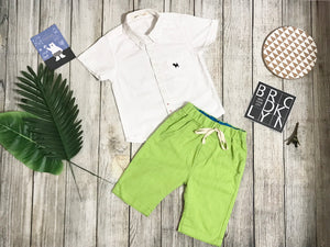 White Top Short Sleeves & Lime Green Shorts set