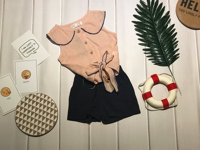 Fashion - Knot waist crop top with matching shorts
