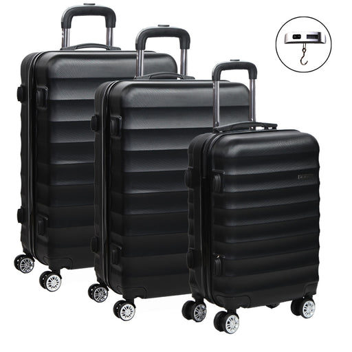 Wanderlite 3 Piece Super Lightweight Hard Suit Case - BLACK