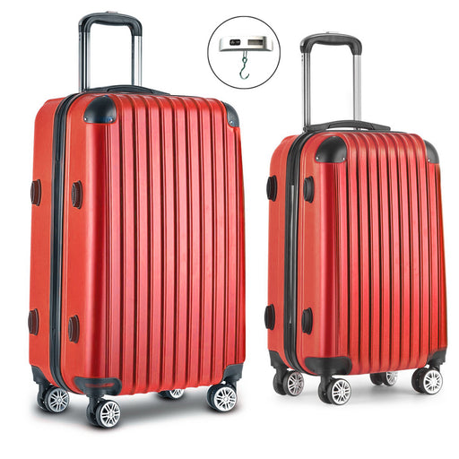 Wanderlite 2 Piece Super Lightweight Hard Suit Case - RED