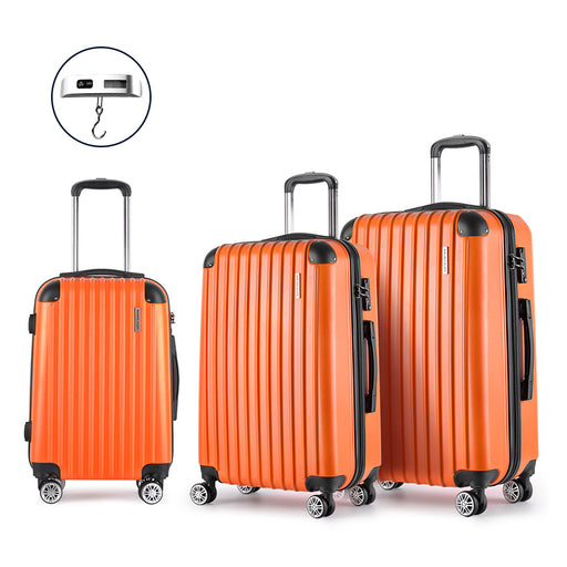 Wanderlite 3 Piece Super Lightweight Hard Suit Case - ORANGE