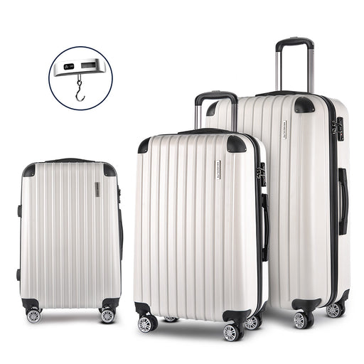 Wanderlite 3 Piece Super Lightweight Hard Suit Case - WHITE