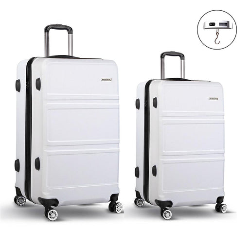 Wanderlite 2 Piece Super Lightweight Hard Suit Case - WHITE