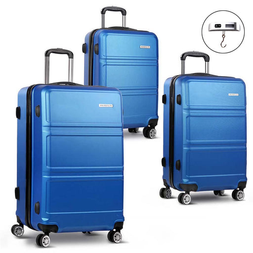 Wanderlite 3 Piece Super Lightweight Hard Suit Case - BLUE