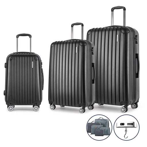 Wanderlite 3 Piece Super Lightweight Suitcase Trolley Set - BLACK