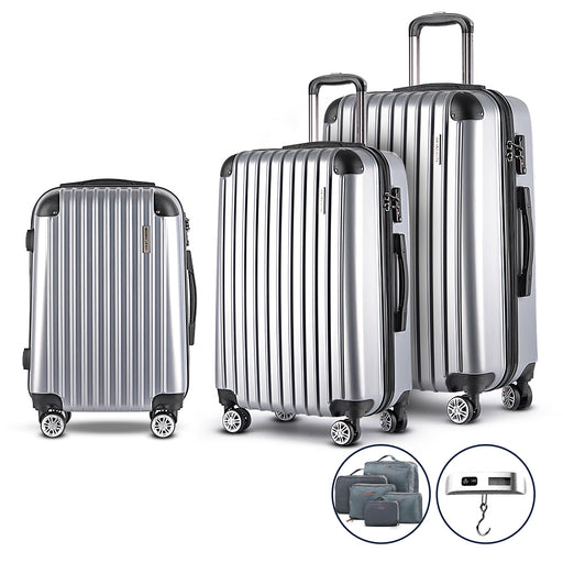 Wanderlite 3 Piece Super Lightweight Suitcase Trolley Set - SILVER