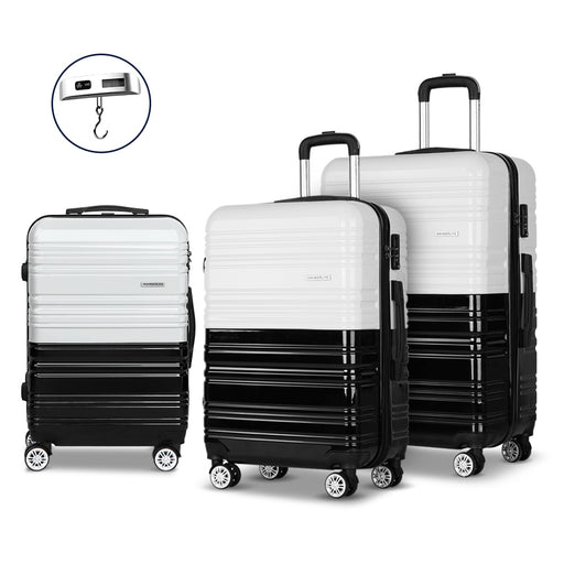 Wanderlite 3 Piece Super Lightweight Hard Suit Case - BLACK & WHITE