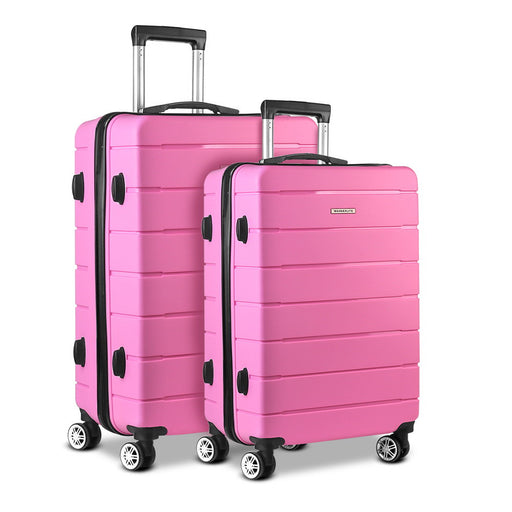 JUST ARRIVED! - Wanderlite 2 Piece Super Lightweight Hard Suit Case - CANDY PINK