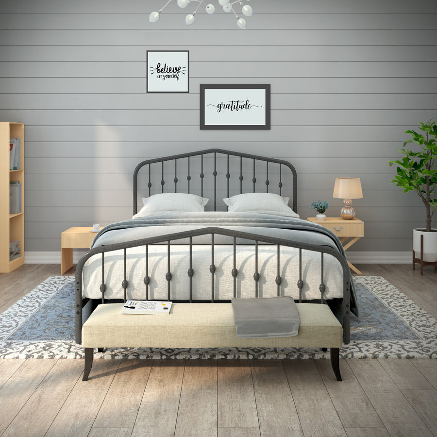 Taj Mahal Metal Bed frame- Charcoal Grey - Ambee21