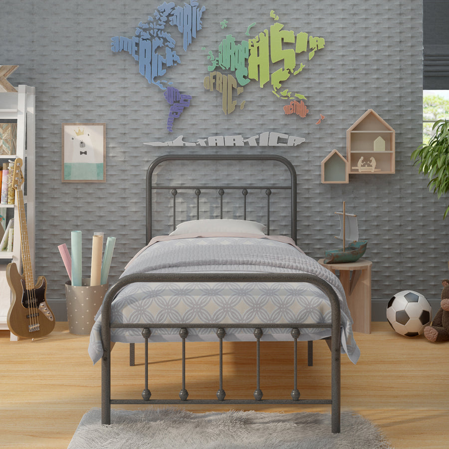 Vintage Bed - Charcoal Grey - Ambee21