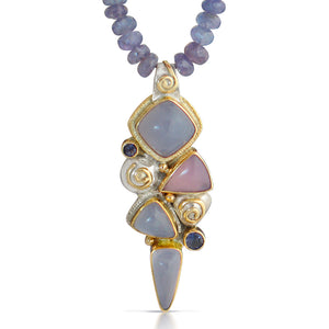Cascade  Pendant with Chalcedony, Sapphires and Tanzanite Beads