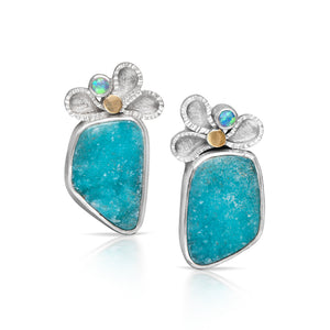 Sprinkle Earrings with Chrysocolla Druzy and Opal