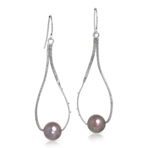 Drop Earrings with Grey Pearls