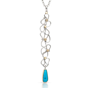 Long Cascade Pendant with Kingman Turquoise