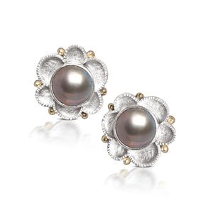 Mabe Pearl Flower Earrings