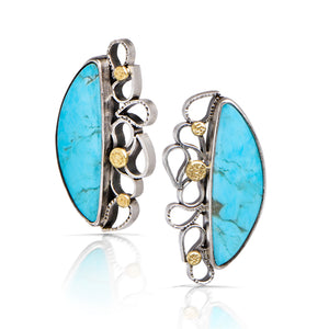 Cascading Earrings with Kingman Turquoise