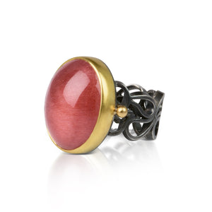 Twin Falls Ring with Russian Strawberry Quartz