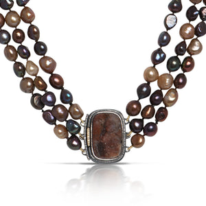 Chocolate Pearl Necklace with Concho Druzy Clasp