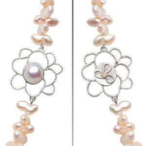 Mabe Pearl Flower Pendant with Fancy Freshwater Pearls