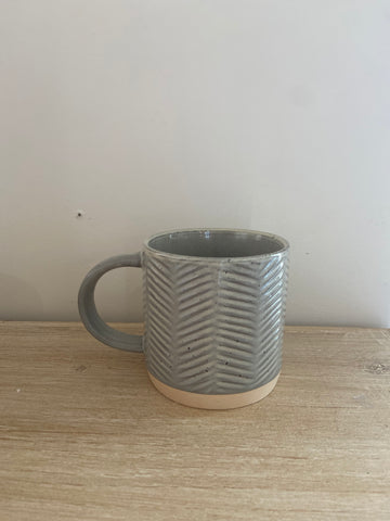 12 oz. debossed stoneware mug | grey