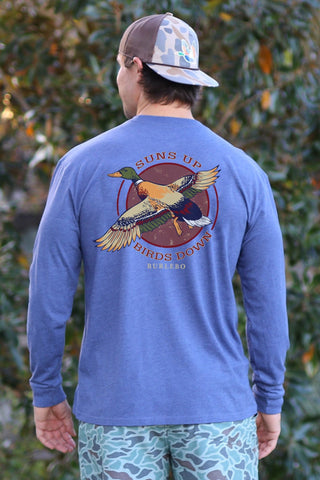 suns up birds down long sleeve tshirt | heather navy