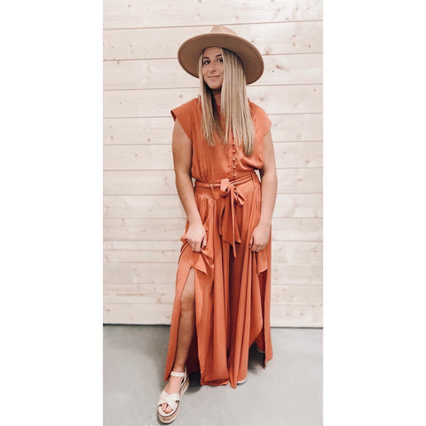 take your time jumpsuit | terracotta