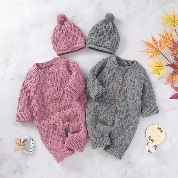 Knitted jumpsuit & beanie set